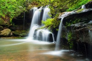 Hunts Creek Falls, Sydney, Australia. Long exposure after heavy rains at a bush reserve at Carlingford